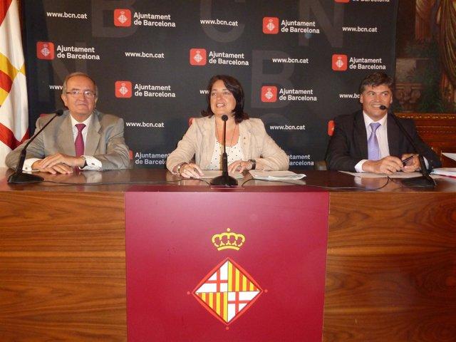 J.González (Pimec), S.Recasens y A.Cañete (Plataforma contra la morosidad)