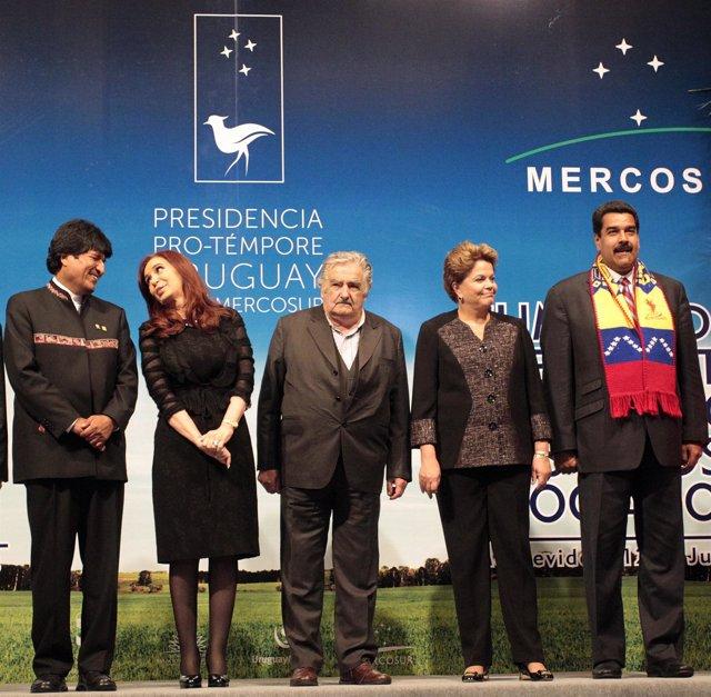 Morales, Fernandez, Mujica, Rousseff y Maduro en Mercosur