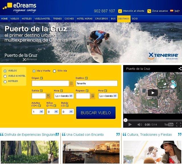 Microsite de Puerto de la Cruz en el portal eDreams