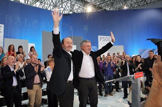 Rubalcaba Y José Blanco En Un Acto Del PSOE En Ourense.