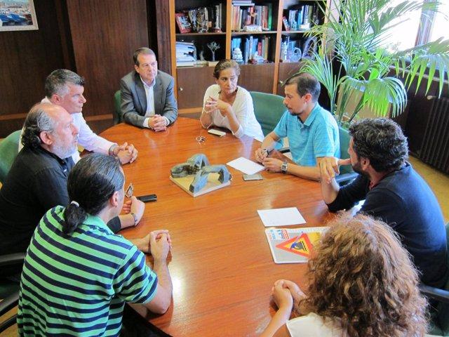 Reunión de sindicatos del naval con el alcalde de Vigo.