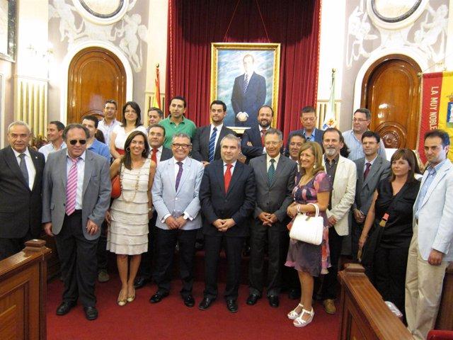 Recepción en el Ayuntamiento con motivo del Sorteo de Oro en Badajoz