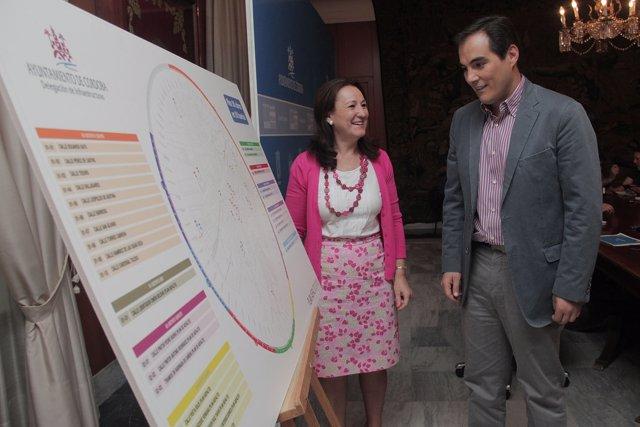 Laura Ruiz y José Antonio Nieto ante el mapa del Plan Asfalto