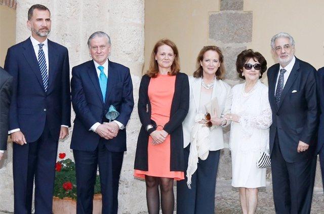 El Príncipe de Asturias junto a Valetín Fuster y Placido Domingo