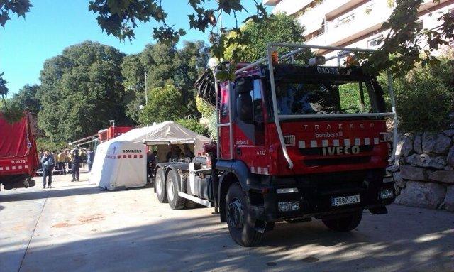Centro de mando del incendio de Vallirana