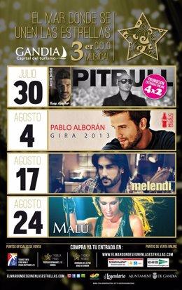 Cartel de conciertos en Gandia (Valencia)