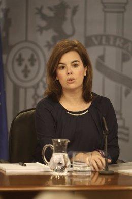 Soraya Sáenz de Santamaría durante el último Consejo de Ministro de agosto