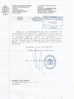Escrito de la Fiscalía de Cantabria