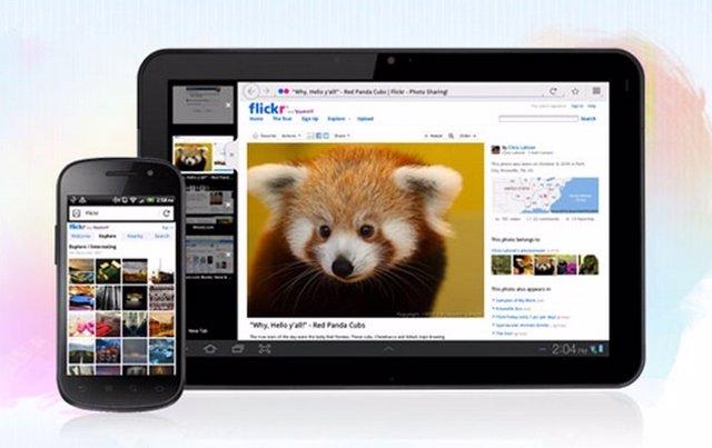 Navegador web Firefox para dispositivos móviles smartphones tablets Android