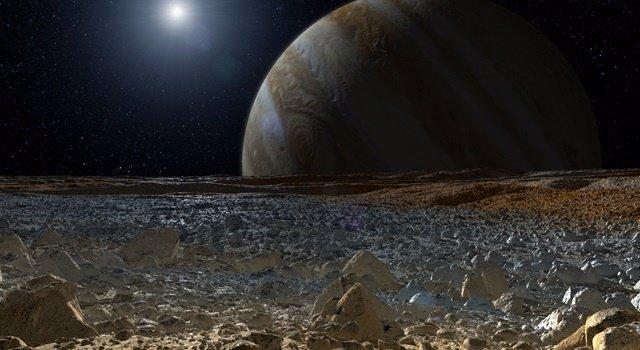 Júpiter desde la superficie de Europa
