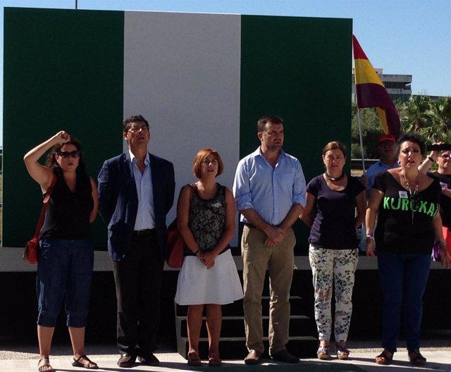 El coordinador general de IULV-CA, Antonio Maíllo, en el homenaje a Blas Infante