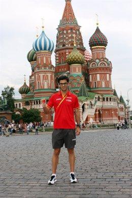 Miguel Ángel López en la Plaza Roja de Moscú