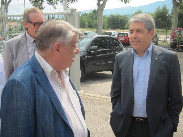El rector de la UCE, Joan Sales, y el conseller Francesc Homs