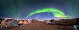 Aurora boreal en el glaciar Qaleraliq