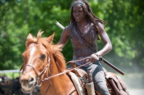 Danai Gurira (Michonne) en la cuarta entrega de The Walking Dead