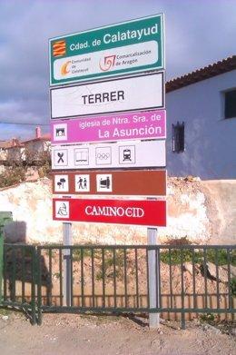 Señalización del Camino del Cid en Terrer (Zaragoza)