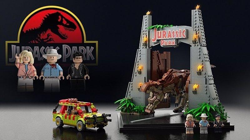 Elementos y personajes de Parque jurásico construidos con piezas de LEGO