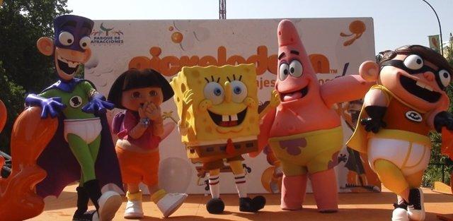 Personajes Nickelodeon en Parque Atracciones Madrid