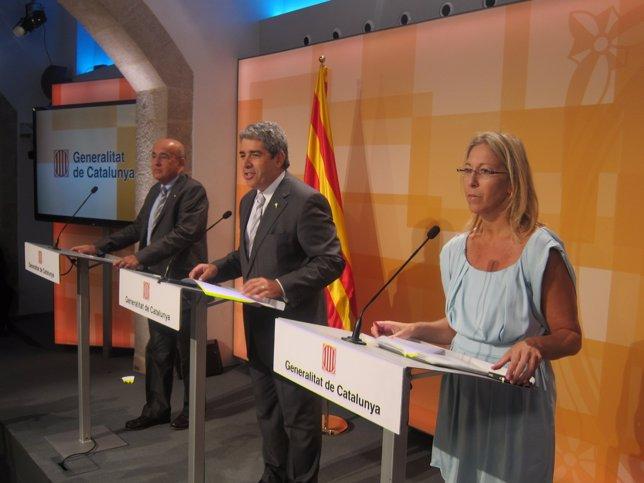 Los consellers B.Ruiz, F.Homs y N.Munté