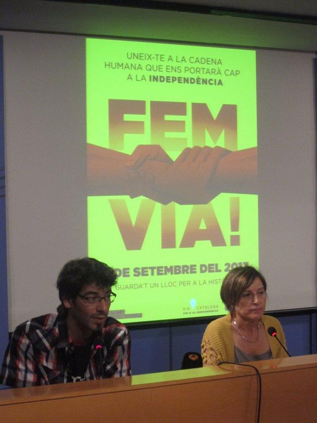 Presentación de la 'Via Catalana', con Ignasi Termes y Carme Forcadell (ANC).