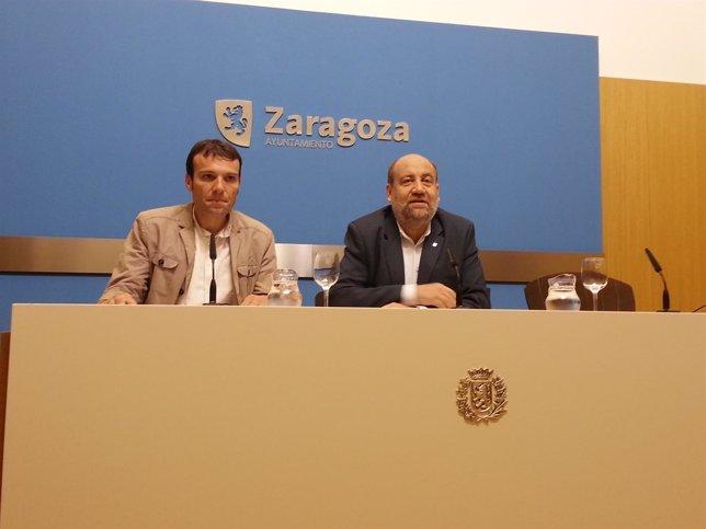 Los concejales de IU en Zaragoza, Pablo Muñoz y José Manuel Alonso