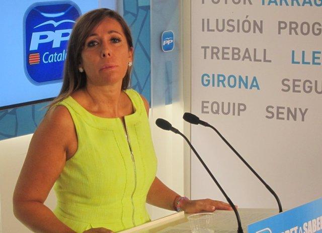 La líder del PP catalán Alícia Sánchez-Camacho en rueda de prensa