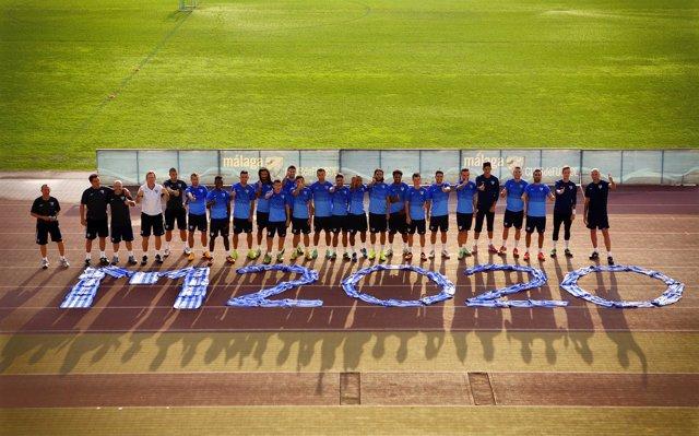 El Málaga CF apoyando a Madrid 2020