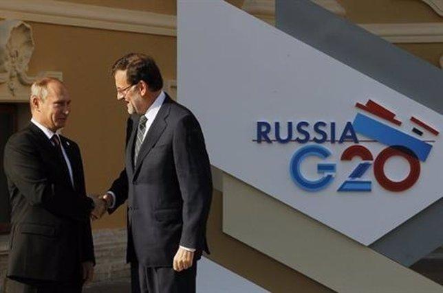 Vladimir Putin y Mariano Rajoy