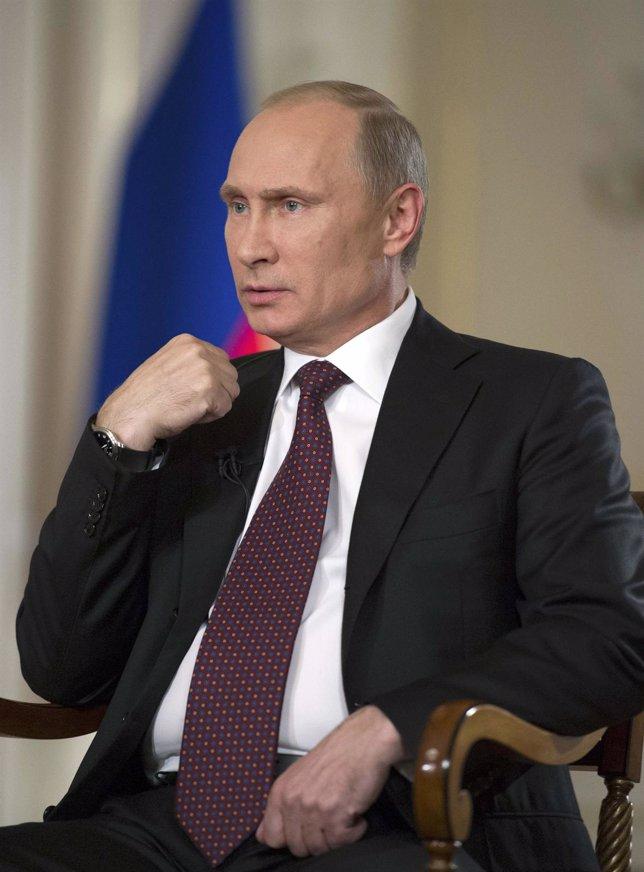 El presidente ruso, Vladimir Putin, durante una entrevista en su residencia camp