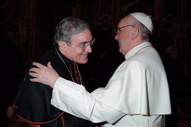 Lluís Martínez Sistach (cardenal arzobispo de Barcelona) y el Papa Francisco