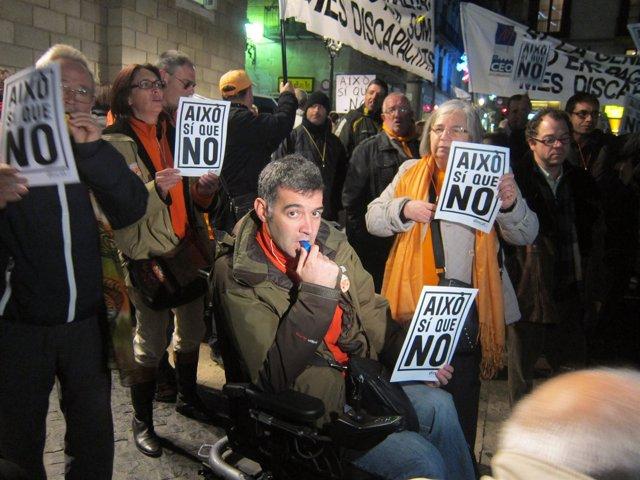 Protesta de discapacitados en Barcelona