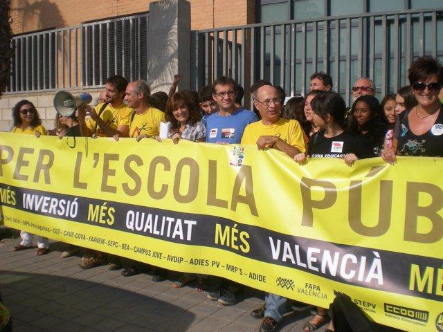 Protestas de al Plataforam per l'ensenyament públic