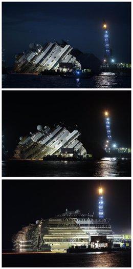 Operación de rotación del crucero 'Costa Concordia'