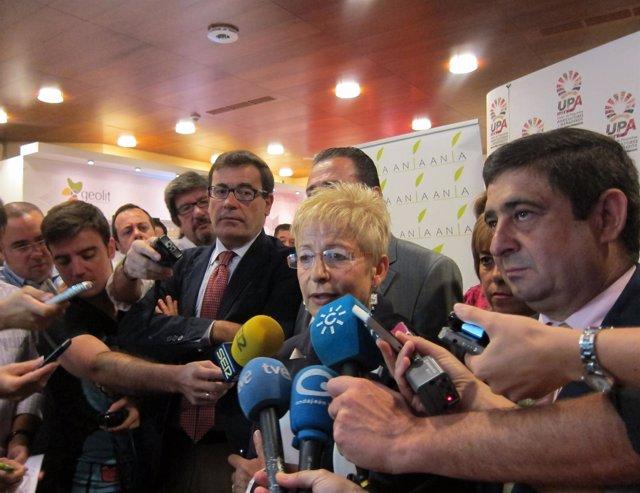 Víboras atiende a los medios, ante Cabana, Rodríguez y Reyes.