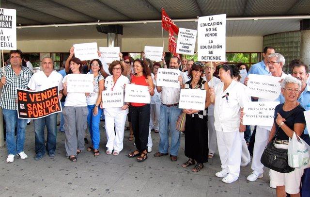 Protesta ante el Hospital General