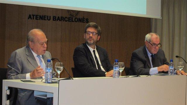 J.Pujol, Lluís Reales (Ateneu Barcelonès) y el exconseller E.Maragall