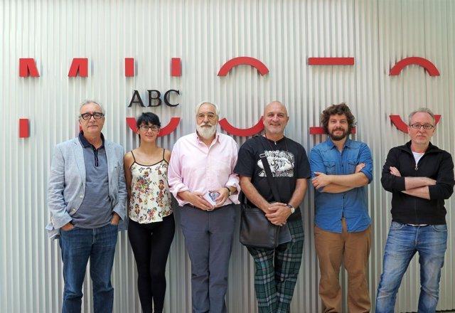 Juan José Millás y los ilustradores Eva Vázquez, Emilio Urberuaga, Antonio Santo