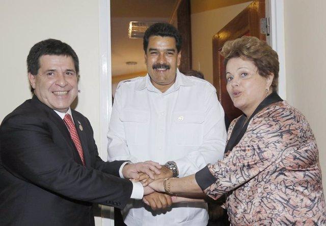 Cartes, Rousseff y Maduro en Unasur