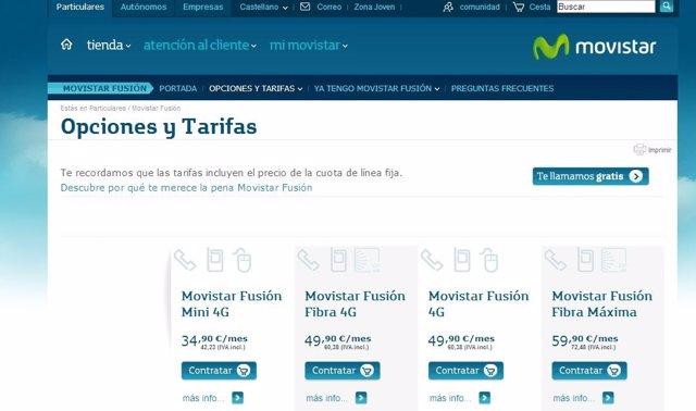 Página Web de Movistar