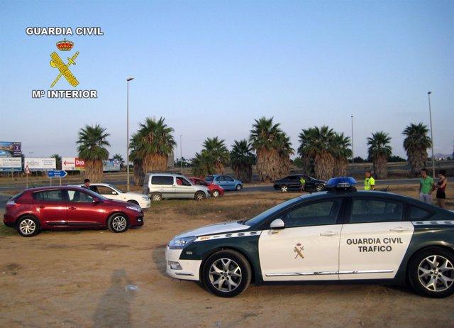Control de la Guardia Civil de verificación de alcoholemia y droga