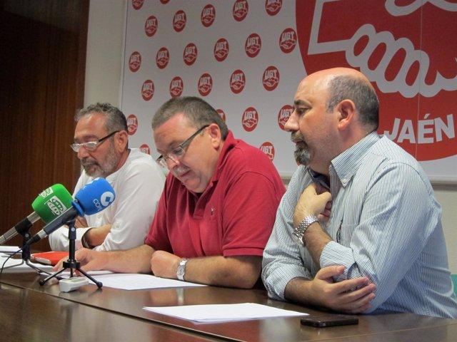 Gil, Puñal y Salazar en la rueda de prensa sobre el Ayuntamiento de Bailén.