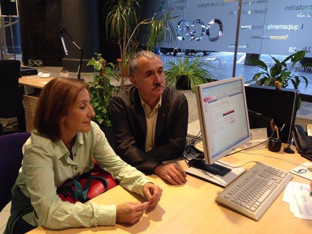 Amparo Burgueño (Fete-UGT) y Josep Maria Álvarez (UGT Catalunya)