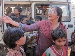 Niños en la estación de Varanasi
