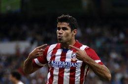 Diego Costa tras marcar en el derbi