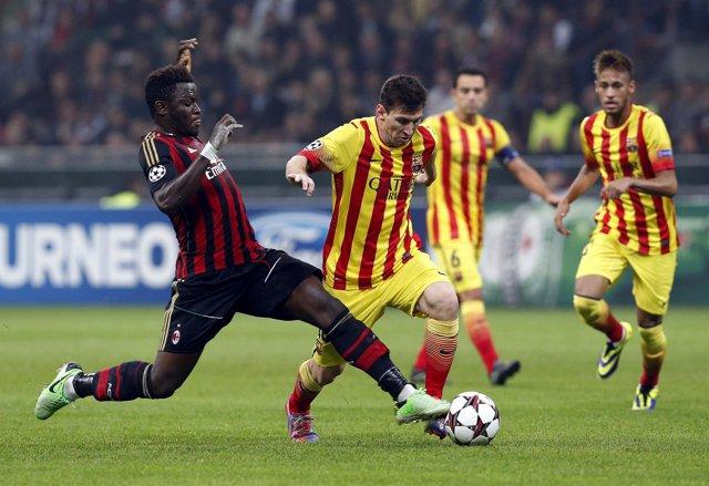 Messi y Neymar ante Muntari