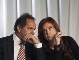 Cristina Fernandez  Y El Gobernador De Buenos Aires Daniel Scioli