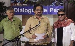 Representantes de las FARC en los diálogos de paz con el Gobierno de Colombia.