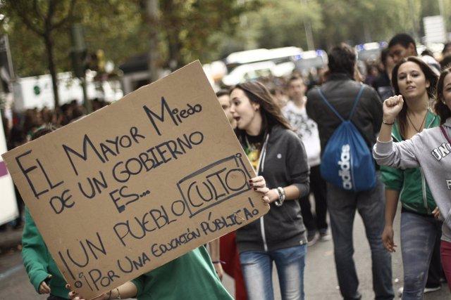 Manifestación de los estudiantes en contra de la Ley Wert