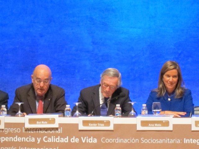 El conseller B.Ruiz, el alcalde X.Trias y la ministra A.Mato