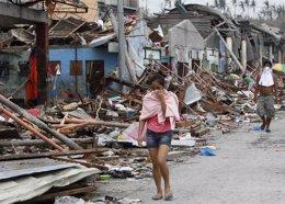 Zona devastada por el tifón Yolanda en Filipinas